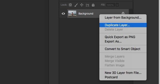 Duplicate Layer option from layers panel in Photoshop