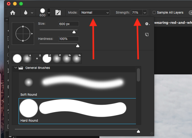 Mode and Strength brush options in Photoshop's upper toolbar
