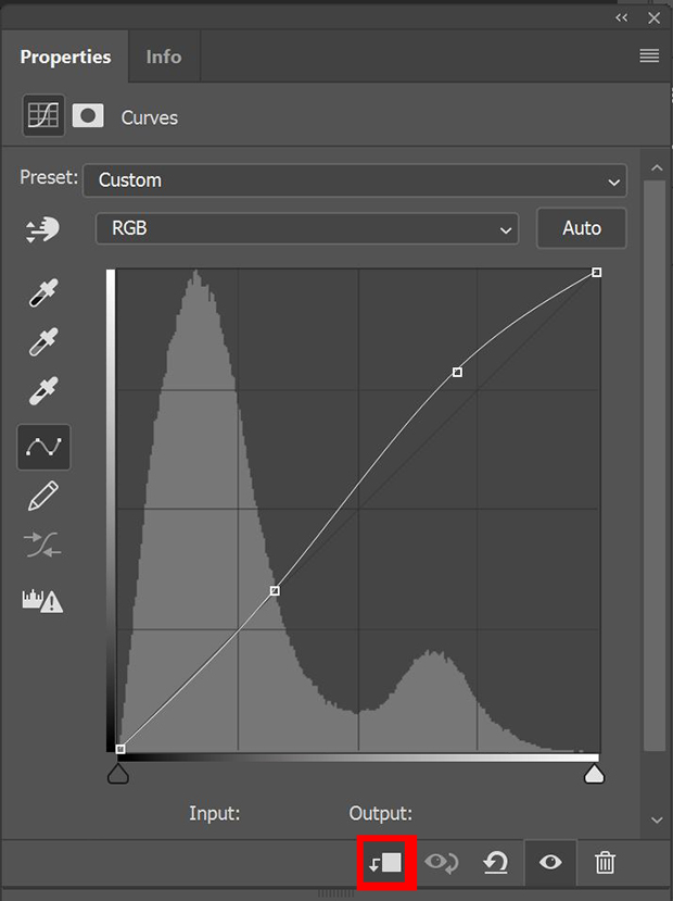 Photoshop's Curves adjustment panel with clipping button highlighted with red box