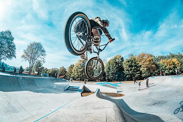 BMX biker riding on a ramp