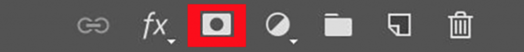 Layer mask button in Photoshop's Layers Panel highlighted with red box