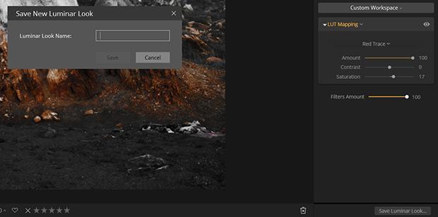 Save New Luminar Look dialog box in Luminar