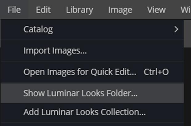 File >> Show Luminar Looks Folder... in Luminar