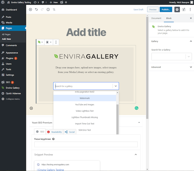 Load gallery to Envira Gallery block in WordPress