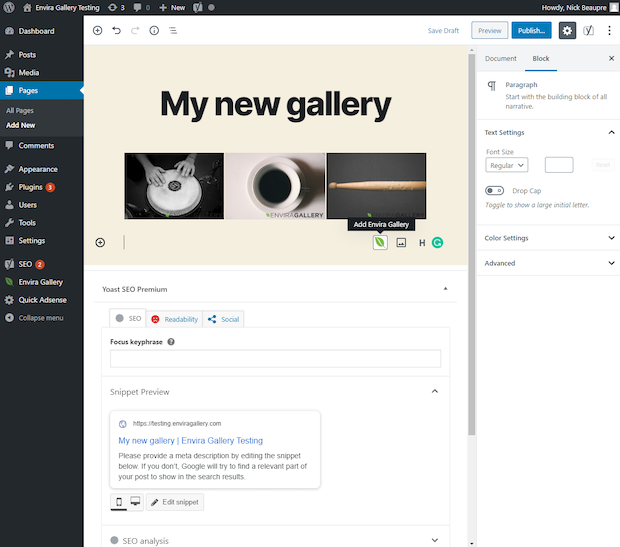 New gallery made in WordPress using Envira Gallery and Block Editor
