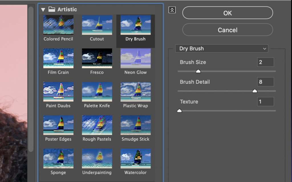 dry brush filter photoshop settings