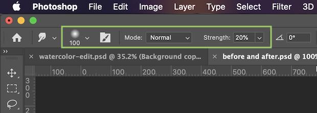 smudge tool settings