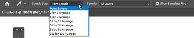 Photoshop Eyedropper Tool adjust sample size
