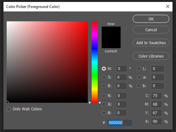 what is the photoshop brush tool color picker