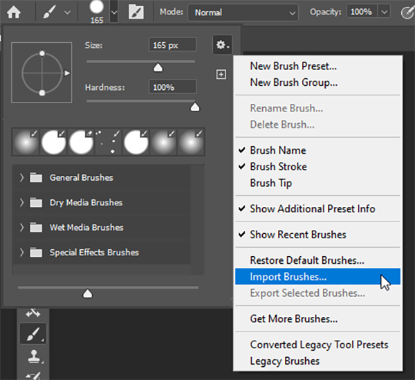 how to use the photoshop brush tool import brushes