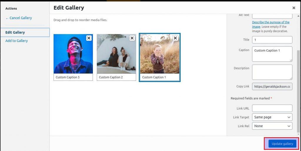 how to use wordpress gallery custom links update gallery