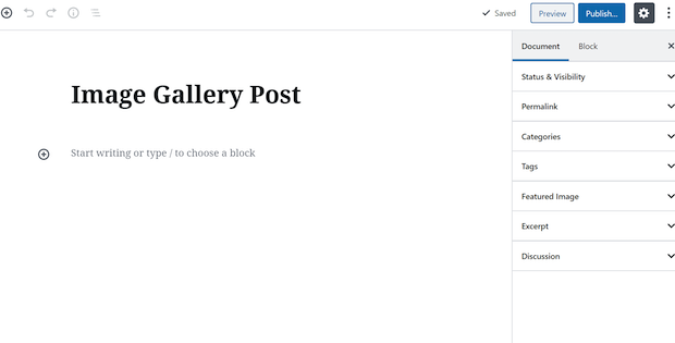 How to Create a Gallery Using the Gutenberg Content Editor add new post