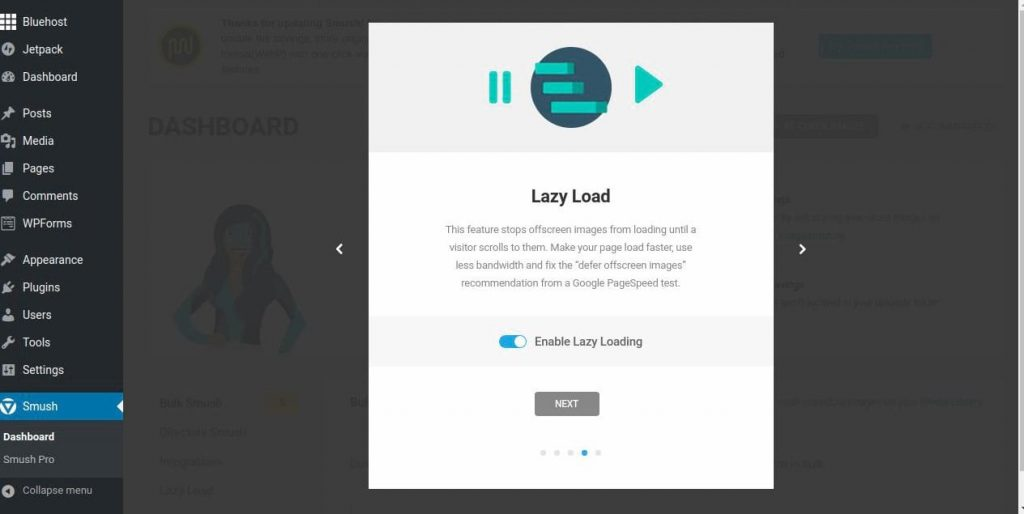 steps to compressing images for wordpress using smush enable lazy loading
