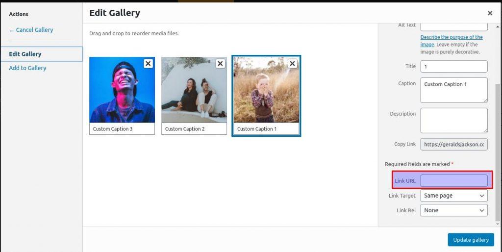 how to use wordpress gallery custom links link url