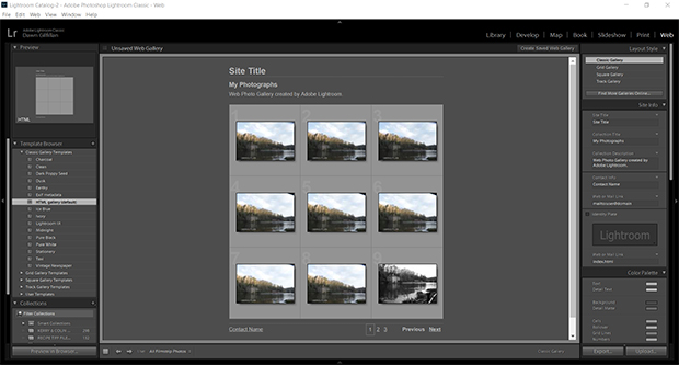 lightroom web galleries
