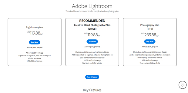 adobe lightroom cost
