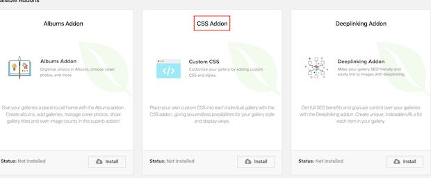 using the css addon to customize envira gallery themes