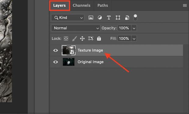 layers panel photoshop apply textures