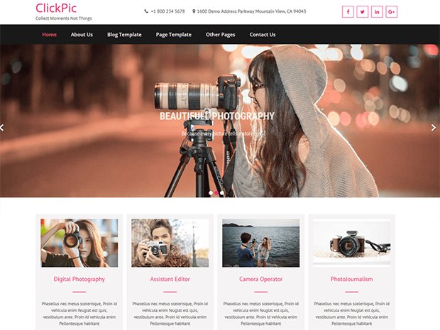 best photography wordpress themes clickpic