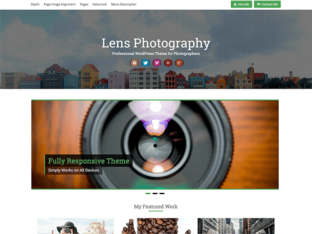best photography wordpress themes lens