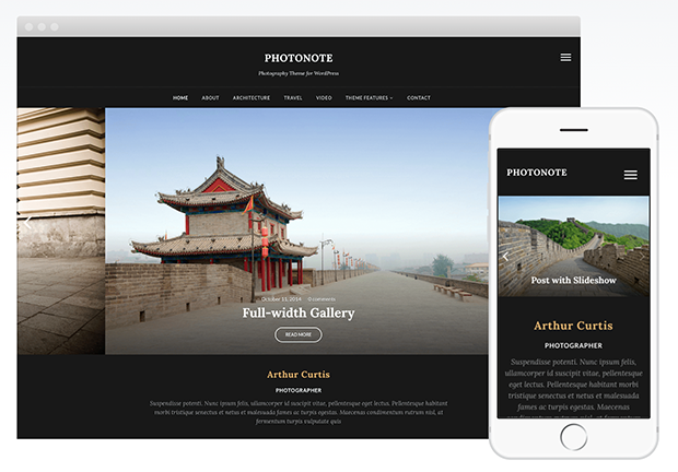 best photography wordpress themes photonote 2.0