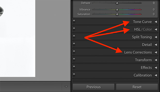 develop module categories tone curve hsl lens corrections lightroom