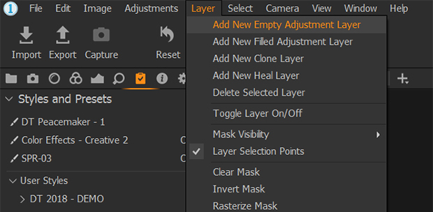 add new adjustment layer in capture one