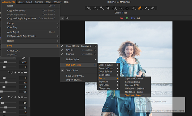 built-in presets in capture one