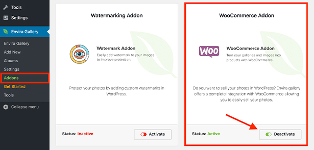 WooCommerce Addon for Enivra Gallery