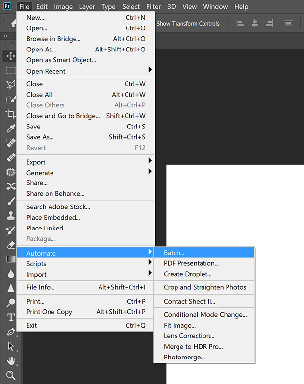 automate batch processing in photoshop