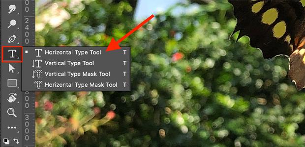 photoshop horizontal type tool