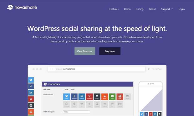 best WordPress social share plugins novashare