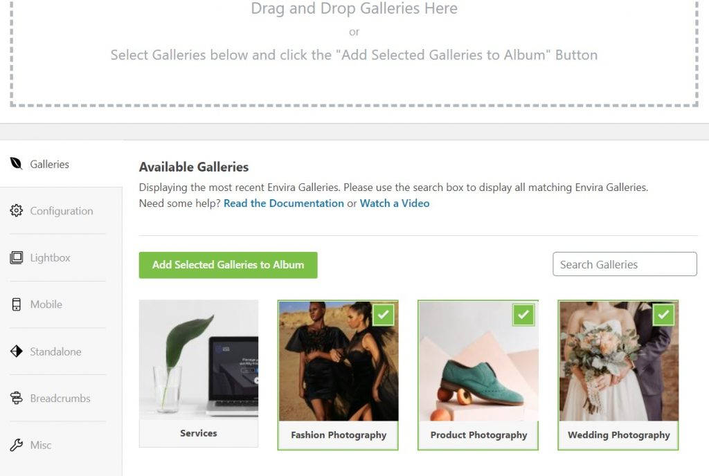 Drag and Drop Galleries
