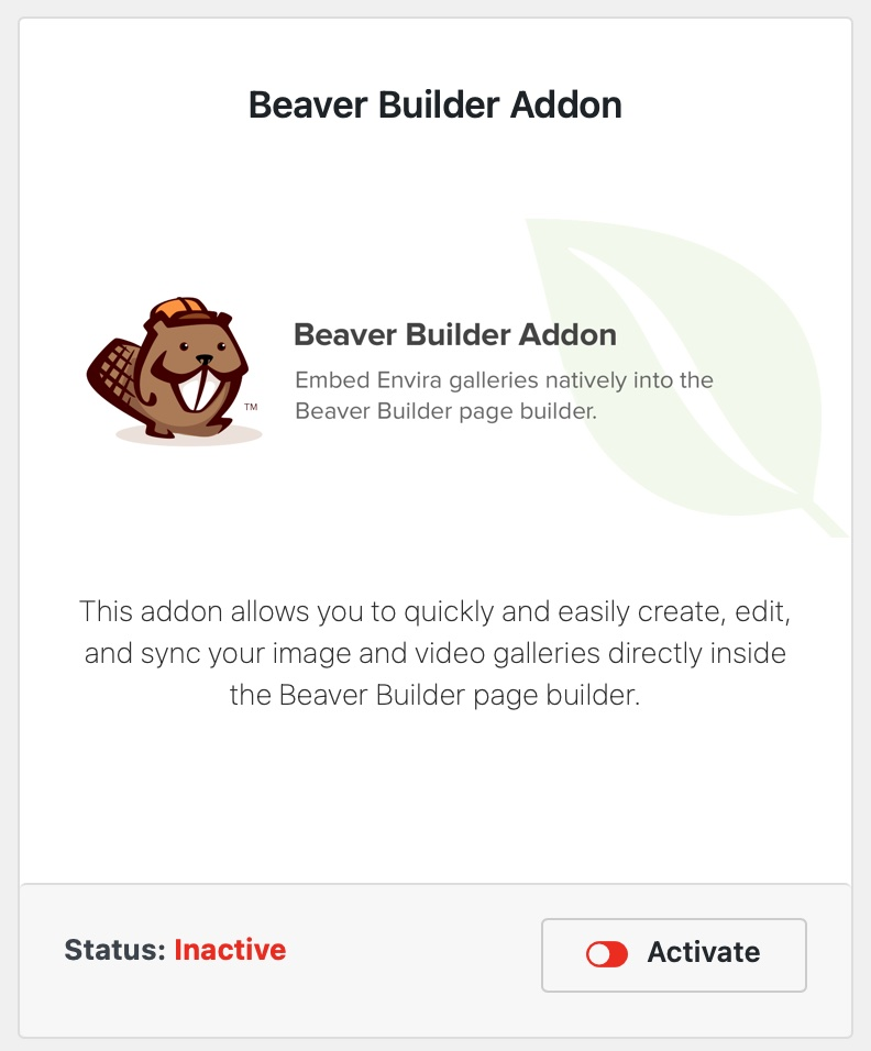 How to Activate the Beaver Builder Addon