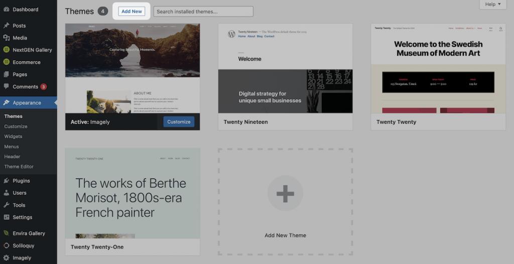 The Add New button in WordPress.