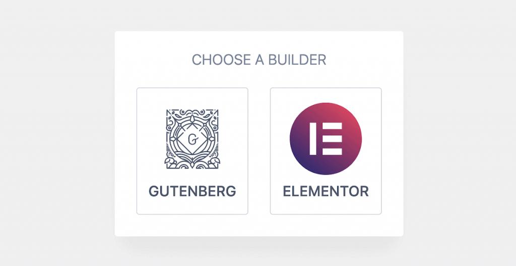 Choosing a builder in Kadence.