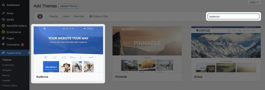 The Kadence theme in the WordPress dashboard.